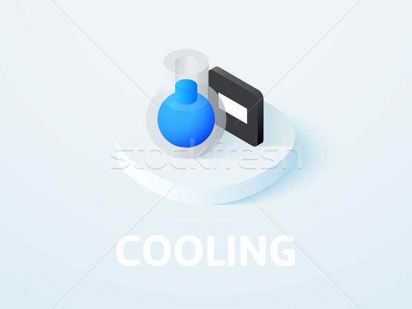 Foto stock: Enfriamiento · icono · aislado · color · vector