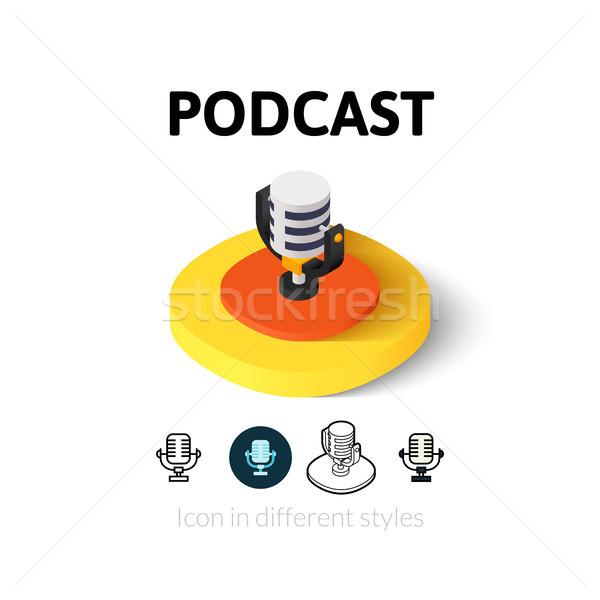 Podcast icona diverso stile vettore simbolo Foto d'archivio © sidmay