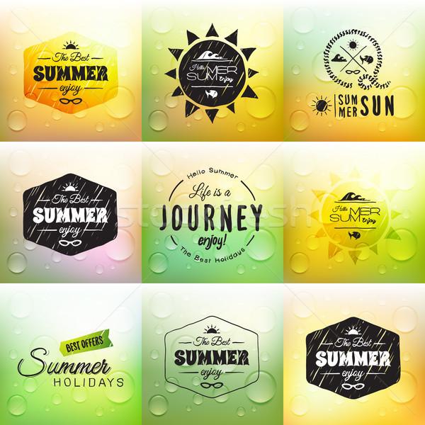 Retro verano etiqueta establecer garabato boceto Foto stock © sidmay
