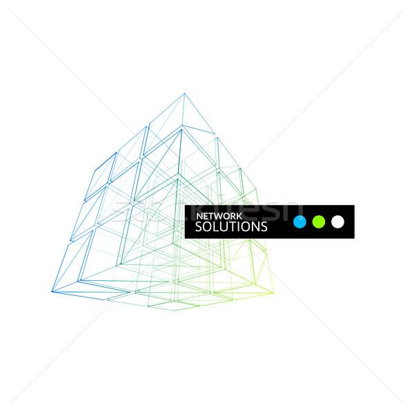 куб геометрия строительство икона зеленый синий Сток-фото © sidmay