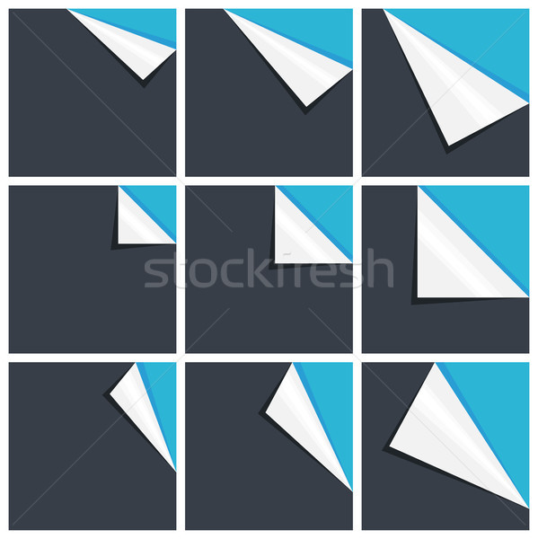 Flat blue set of note paper with curled corner Stock photo © sidmay