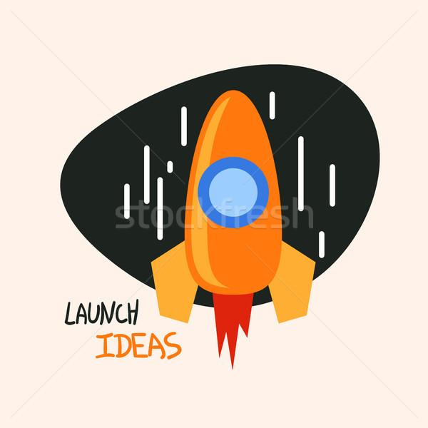 Start up rocket logo, concept vector symbol, trendy flat icon Stock photo © sidmay