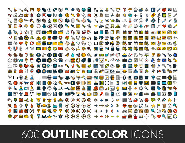 Large icons set, 600 outline color vector pictogram Stock photo © sidmay