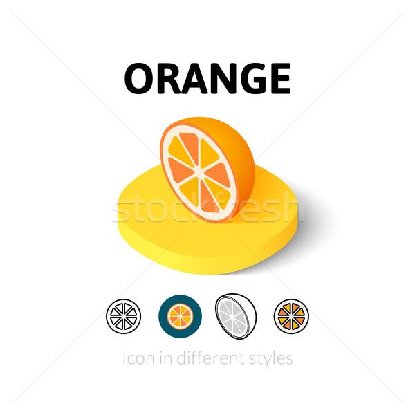 оранжевый икона различный стиль вектора символ Сток-фото © sidmay