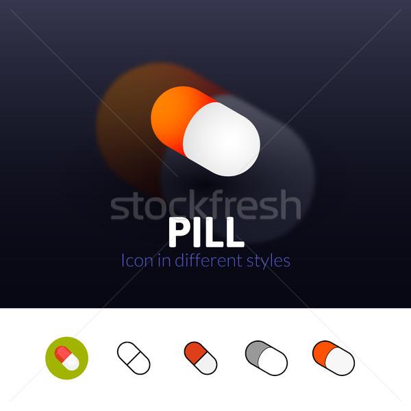 Pillola icona diverso stile colore vettore Foto d'archivio © sidmay