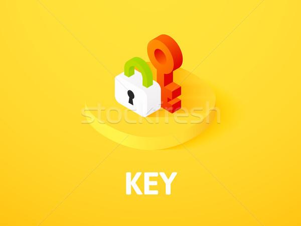 Stock photo: Key isometric icon, isolated on color background
