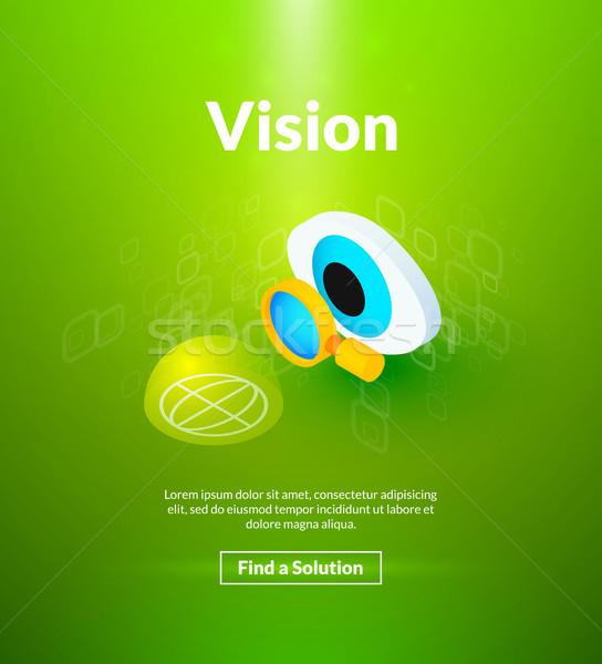 Visie poster isometrische kleur ontwerp succes Stockfoto © sidmay
