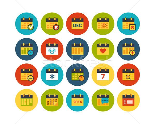 16 иконки вектора набор календаря Сток-фото © sidmay