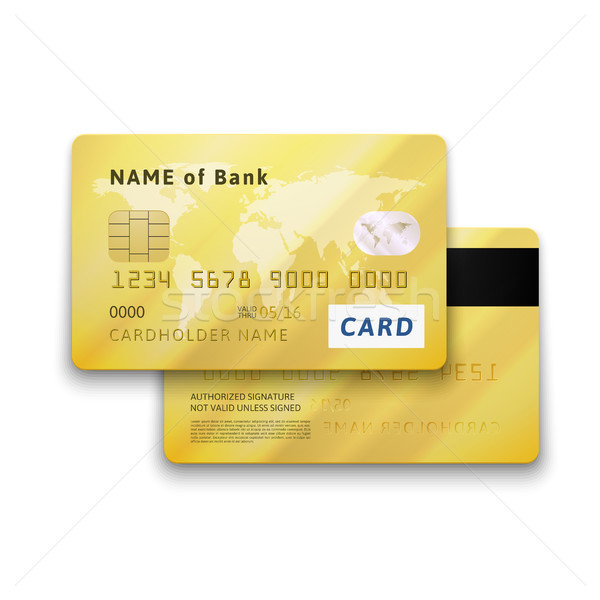 Stock photo: Set of detailed glossy gold credit card with two sides