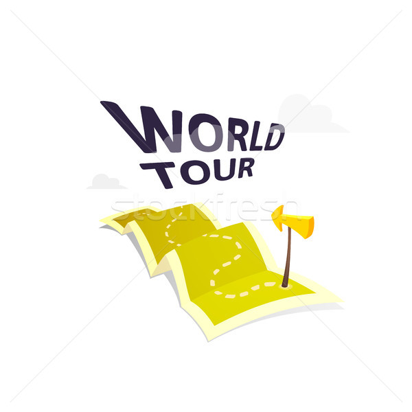 World tour concept logo isolated on white background, long route in travel map with guide marker Stock photo © sidmay