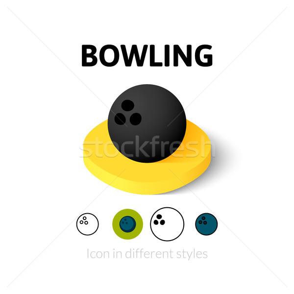 Bowling ikon farklı stil vektör simge Stok fotoğraf © sidmay