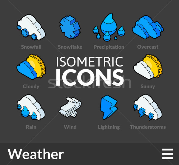 Isometric outline icons set 23 Stock photo © sidmay