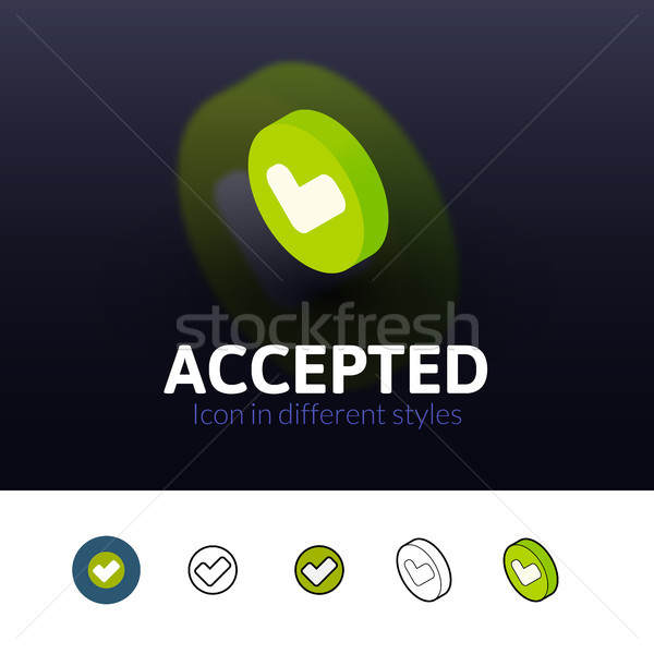 Accepted icon in different style Stock photo © sidmay