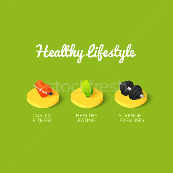 Healthy lifestyle icons Stock photo © sidmay