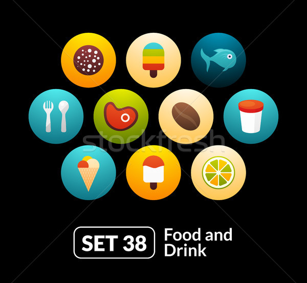 Flat icons set 38 - food and drink collection Stock photo © sidmay