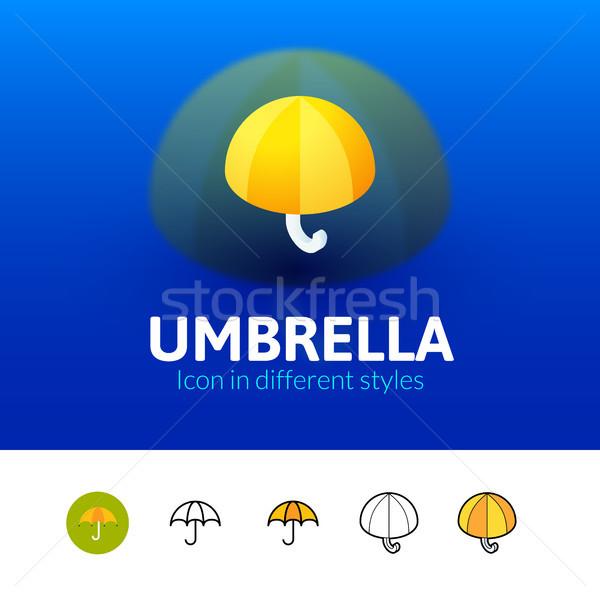 Guarda-chuva ícone diferente estilo cor vetor Foto stock © sidmay