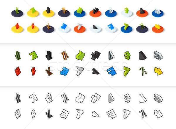 Сток-фото: набор · иконки · различный · стиль · изометрический