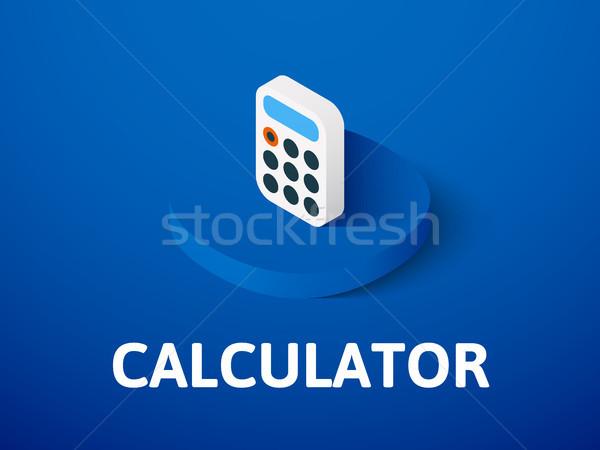 Stock fotó: Számológép · izometrikus · ikon · izolált · szín · vektor