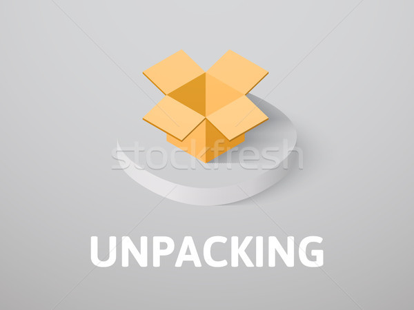 Unpacking isometric icon, isolated on color background Stock photo © sidmay