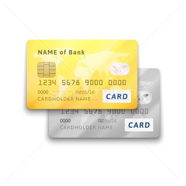 Ingesteld gedetailleerd glanzend goud zilver creditcards Stockfoto © sidmay