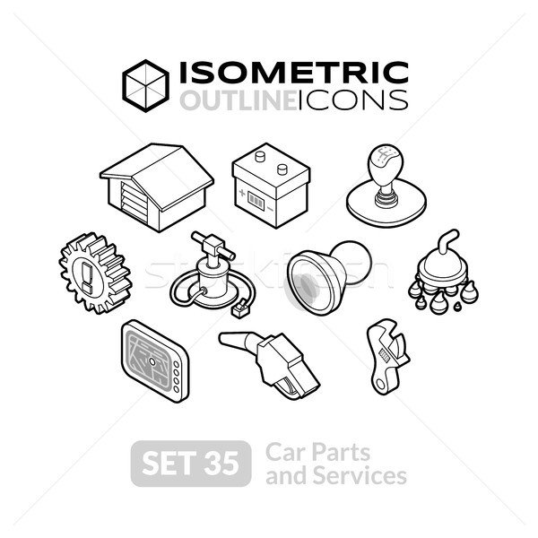 Isometric outline icons set 35 Stock photo © sidmay