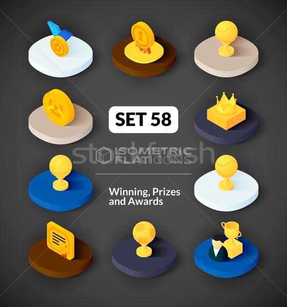 Isometric flat icons set 58 Stock photo © sidmay