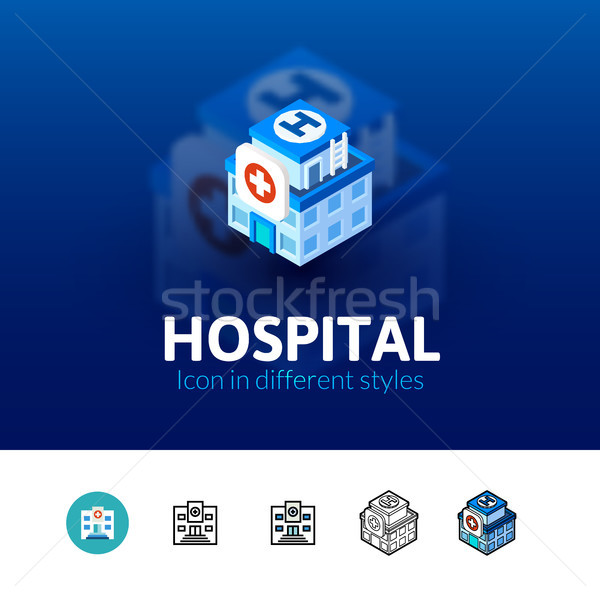 Hospital icon in different style Stock photo © sidmay