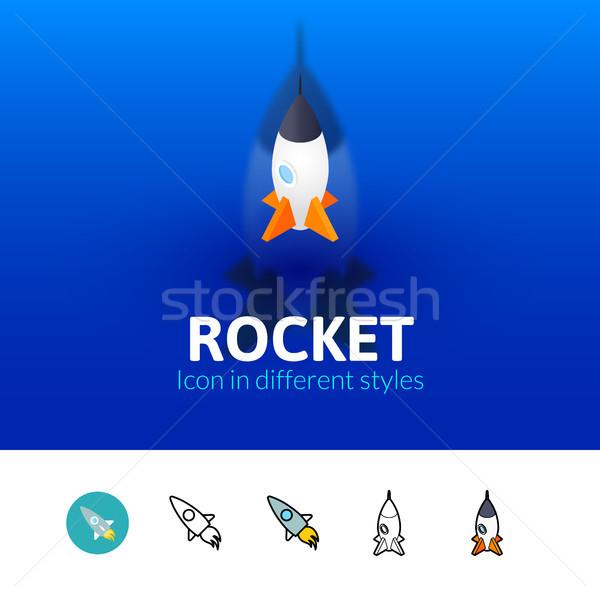 Raket icon verschillend stijl kleur vector Stockfoto © sidmay