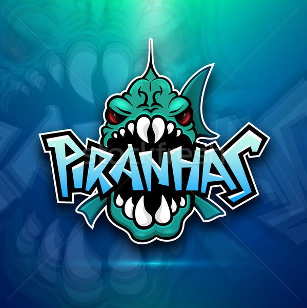 Piranhas emblem logo for sports team Stock photo © sidmay