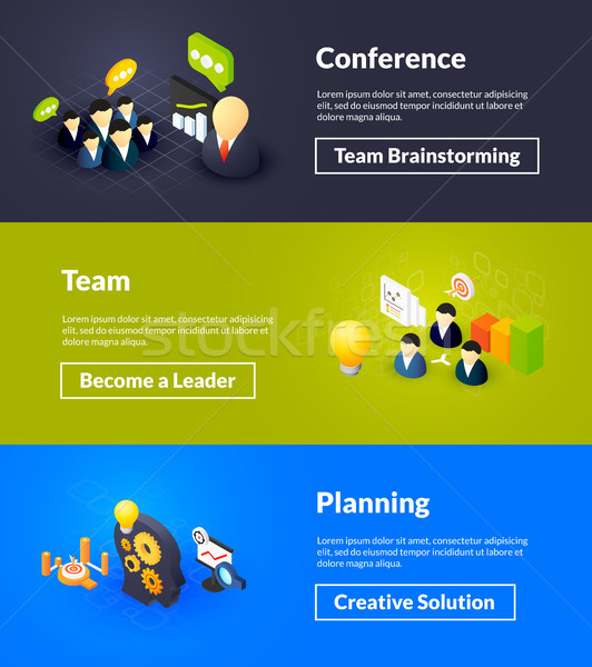 Conference team and planning banners of isometric color design Stock photo © sidmay
