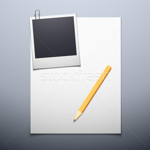 чистый лист бумаги Polaroid бумаги текстуры любви Сток-фото © sidmay