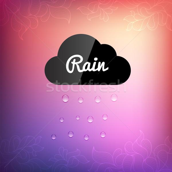 Retro nube pioggia drop icona vettore Foto d'archivio © sidmay