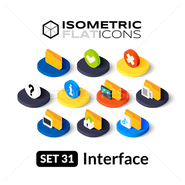 Isometric flat icons set 31 Stock photo © sidmay