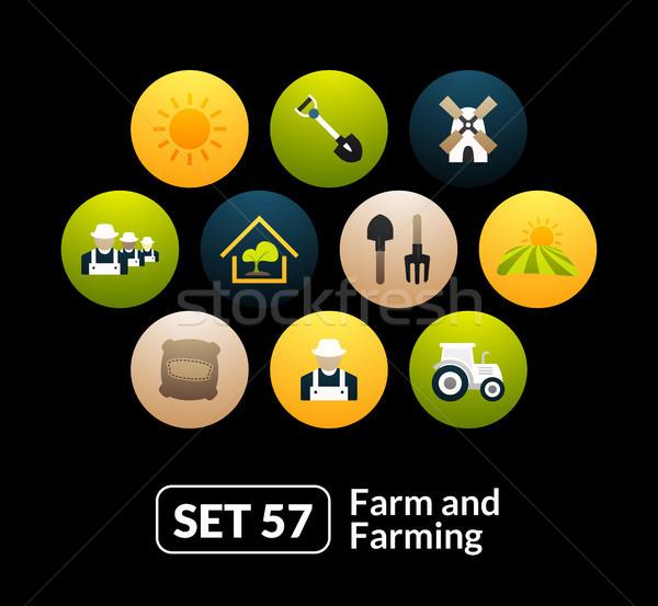 Flat icons set 57 - farm and farming Stock photo © sidmay