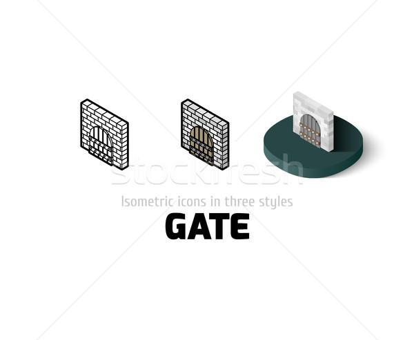 Сток-фото: ворот · икона · различный · стиль · вектора · символ