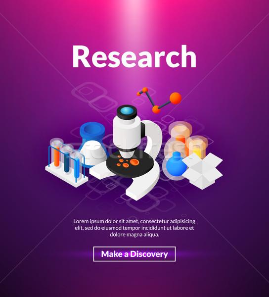 Araştırma poster izometrik renk dizayn nano Stok fotoğraf © sidmay