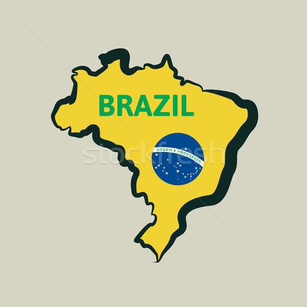 простой Бразилия карта Футбол дизайна краской Сток-фото © sidmay