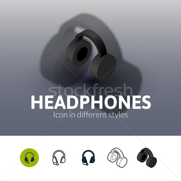 Kopfhörer Symbol unterschiedlich Stil Farbe Vektor Stock foto © sidmay