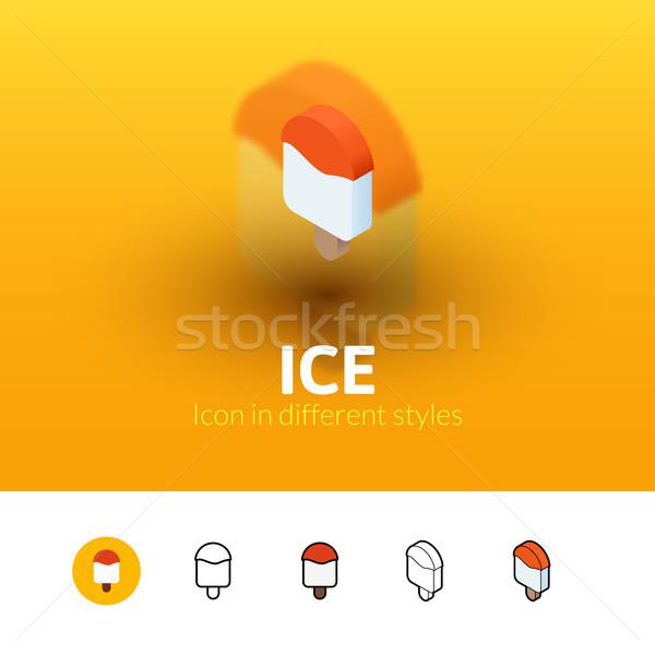 льда икона различный стиль цвета вектора Сток-фото © sidmay