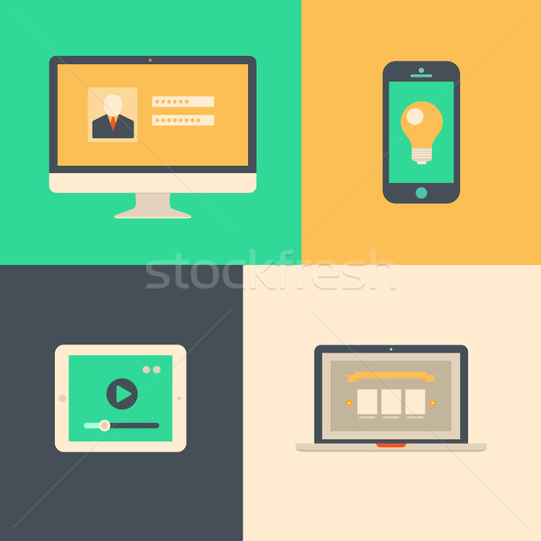 Flat design, tablet phone computer and laptop Stock photo © sidmay
