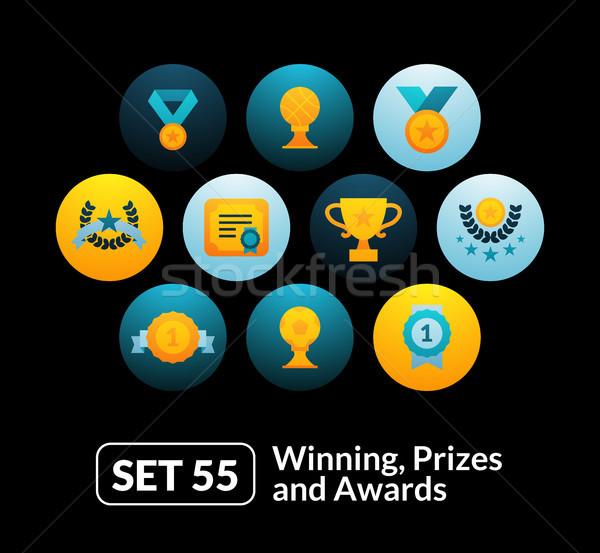 Flat icons set 55 - winning, prizes and awards Stock photo © sidmay