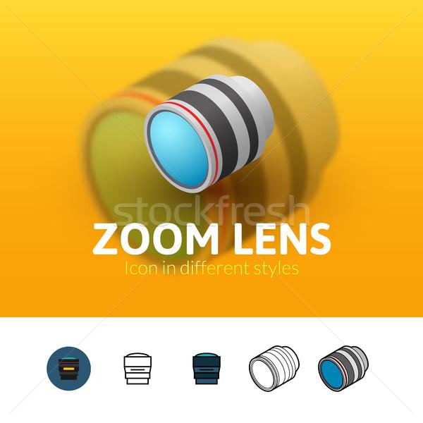 Zoom lenti icona diverso stile colore Foto d'archivio © sidmay