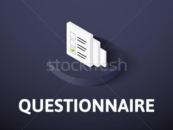 Foto stock: Cuestionario · icono · aislado · color · vector