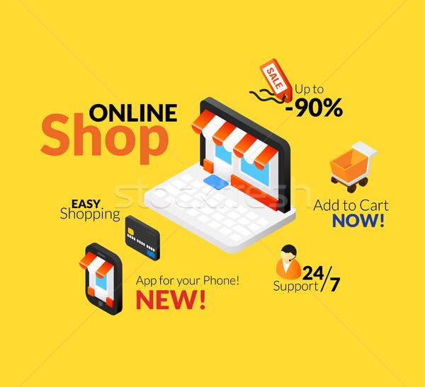 Online shopping logo set Stock photo © sidmay