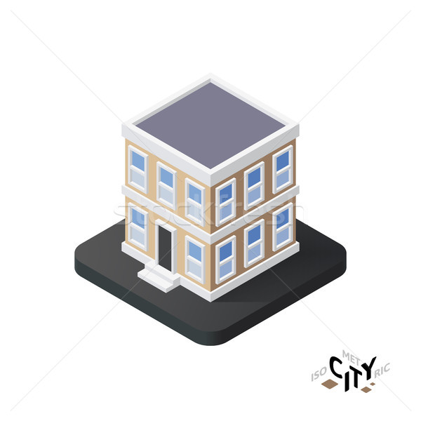 Isometric townhouse icon, building city infographic element, vector illustration Stock photo © sidmay