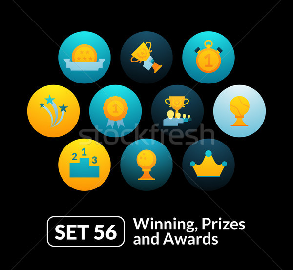 Flat icons set 56 - winning, prizes and awards Stock photo © sidmay