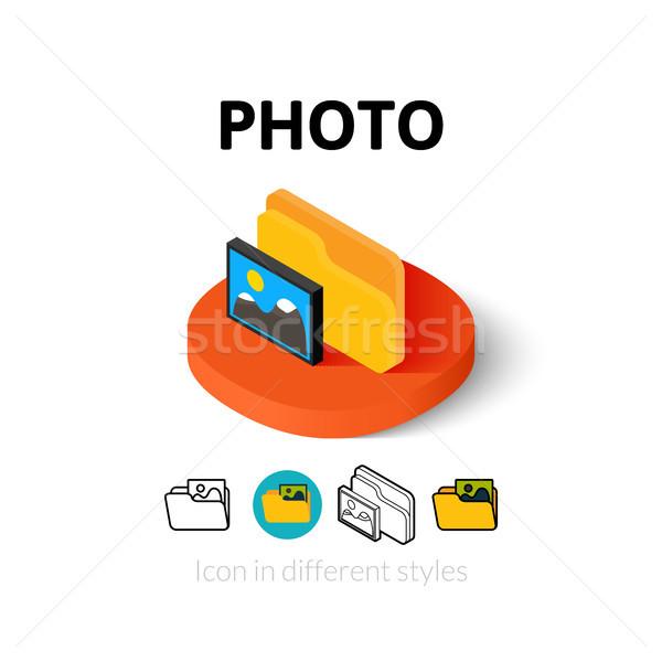 Fotoğraf ikon farklı stil vektör simge Stok fotoğraf © sidmay