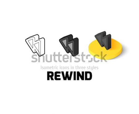 Stock photo: Rewind icon in different style