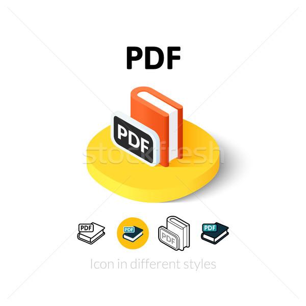 Pdf икона различный стиль вектора символ Сток-фото © sidmay