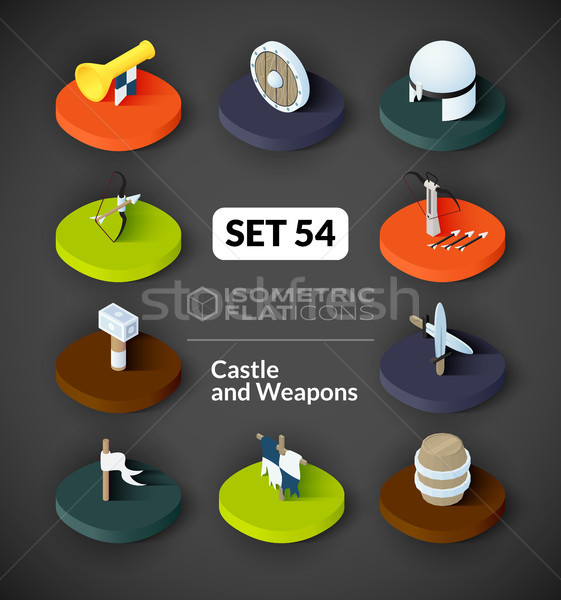 Isometric flat icons set 54 Stock photo © sidmay